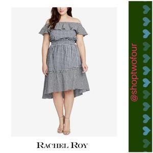 RACHEL Rachel Roy Gingham Off-The-Shoulder Dress